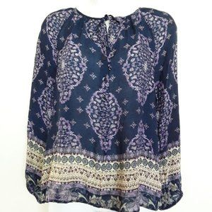 Lucky Brand Purple Boho Floral Print Top Tie Butto